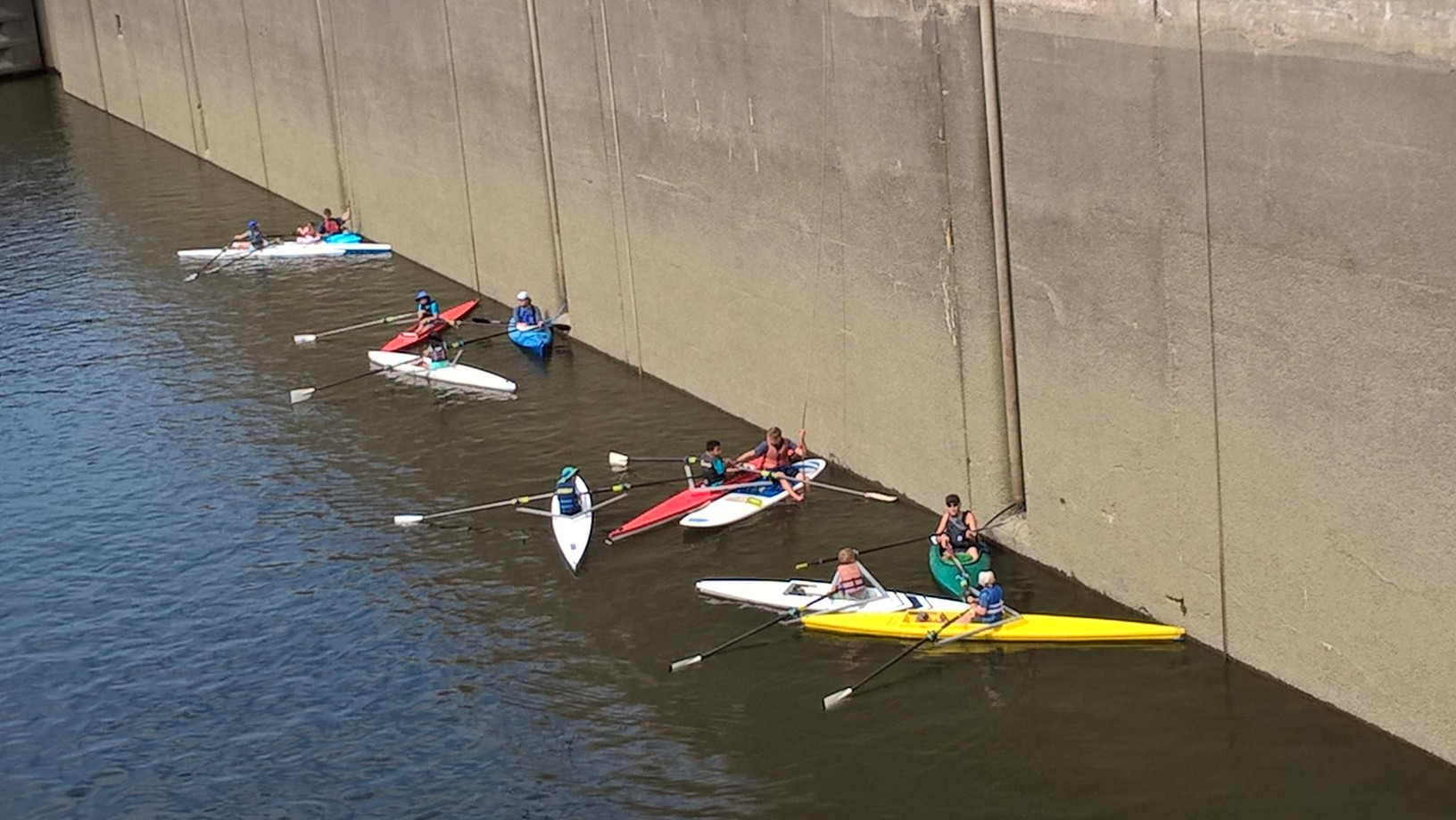 Mechanicville scullers headed up through the Champlain Canal's Lock 3 for a day of play on the upstream pool!